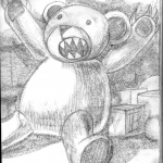 A scary teddy bear with teeth and claws
