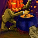 The evil pumpkin man cooking his own kind into soup!