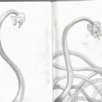 penclil sketches of plugs and wires